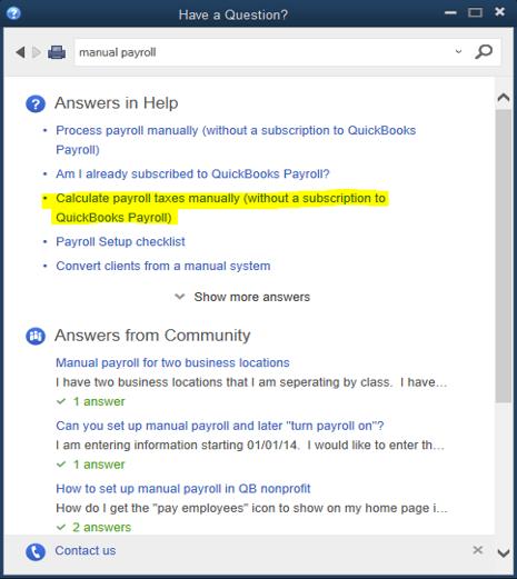 QuickBooks Help manual payroll