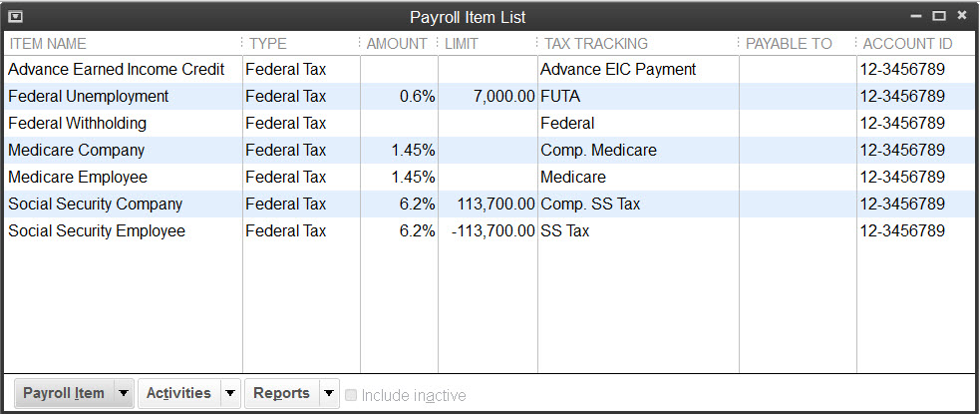 QuickBooks Payroll Item List