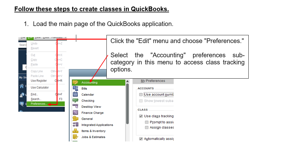 Classes Creation in QuickBooks